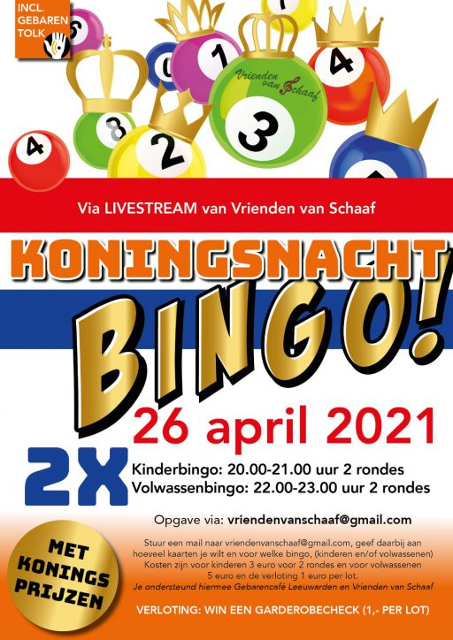 Flyer voor koningsnacht bingo