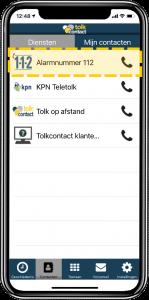 De Tolkcontact-app met de knop Alarmnummer 112